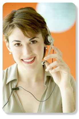 Smiling woman with headset, taking calls