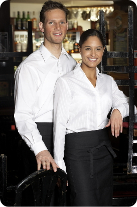 A waiter and a waitress standing together